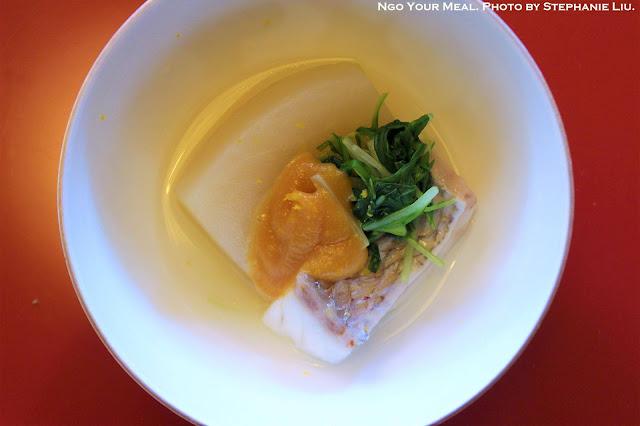 Simmered Red Snapper and Turnip at Tokyo Shiba Tofuya Ukai in Tokyo, Japan