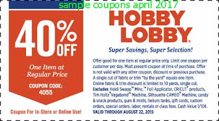free Hobby Lobby coupons for april 2017