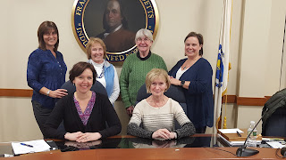 Franklin School Committee (L to R) (back row) Feeley, Douglas, Scofield, Zub;  (front) Schultz, Bergen) Linden not present for photo