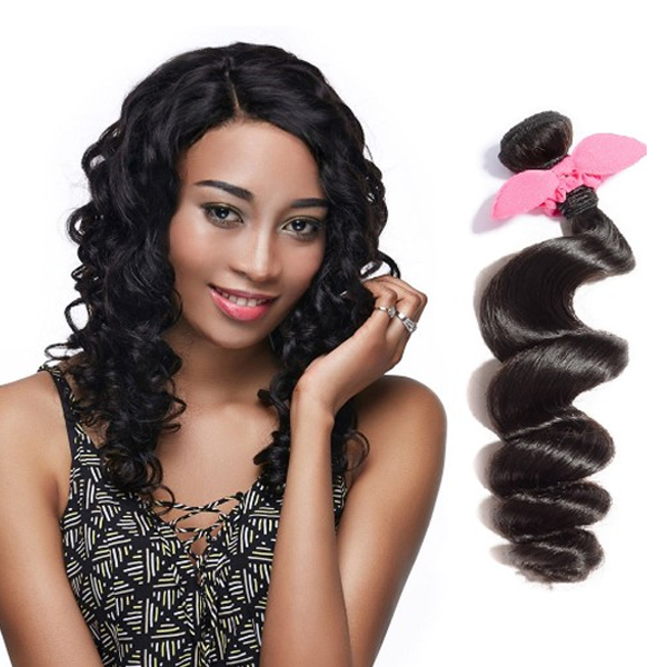 【Platinum 7A】 10 Inch - 30 Inch Virgin Brazilian Remy Hair Weft Loose Wavy Natural Black 100g