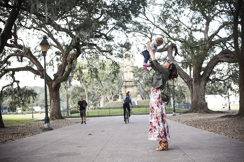 Amy West and daughter play in Savannah's most popular park.