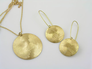 Textured Brass Necklace and Earrings Set