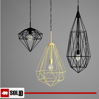 copper polygon diamond pendant lamp