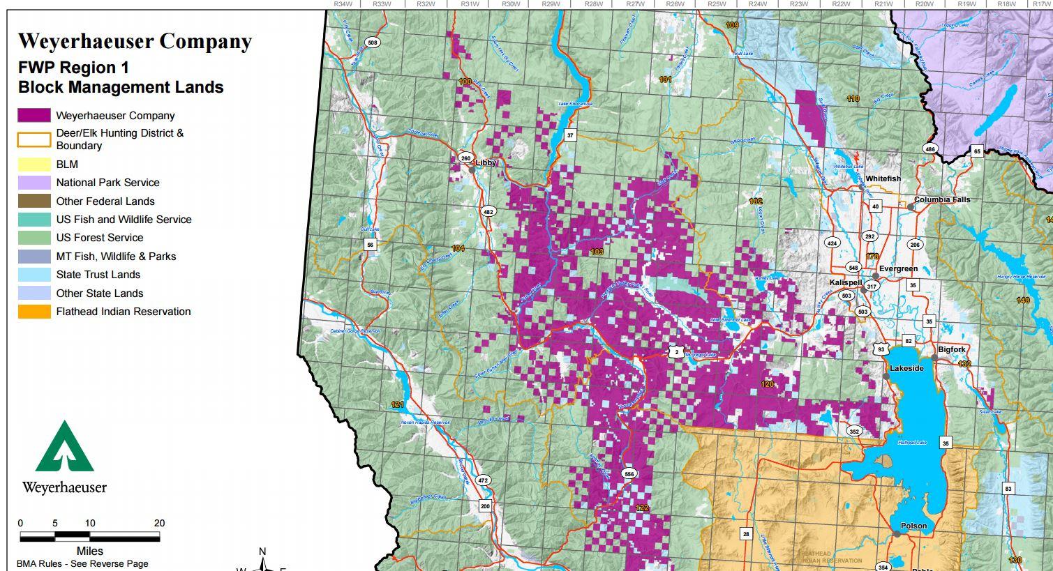map showing weyerhaeuser lands in western montana from regulations for weyerhaeuser company
