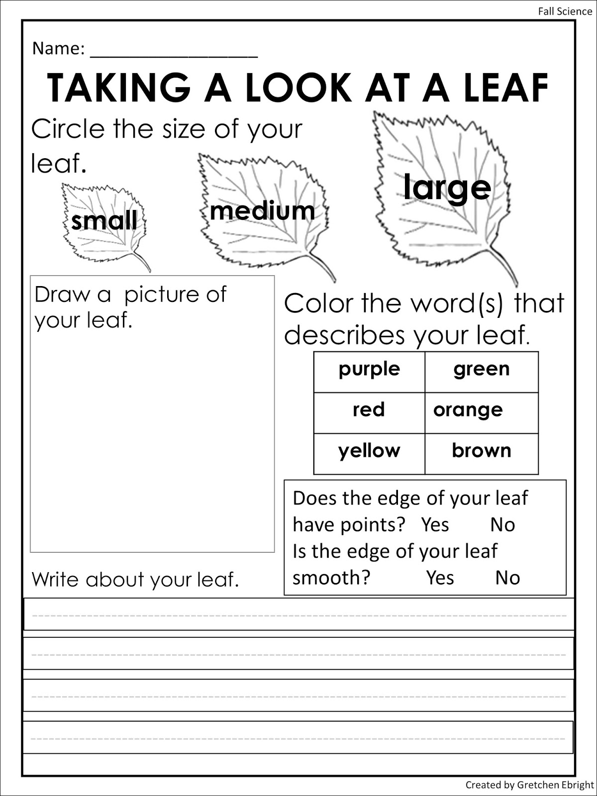 Worksheets Science Observation Worksheet endless teaching ideas by gretchen ebright science fall i use observation sheets to go along with all these goodies allow children explore and record their observations
