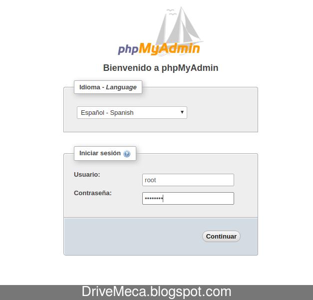 DriveMeca instalando phpMyAdmin en Linux Centos