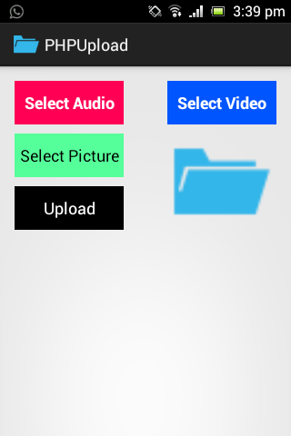 How to upload image, audio and video on php server in