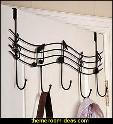 Music Note Style Metal Coat Hanger Wrought Iron Rack Robe Hooks  Music bedroom decorating ideas - rock star bedrooms - music theme bedrooms - music theme decor - music themed decorations - bedding with musical notes