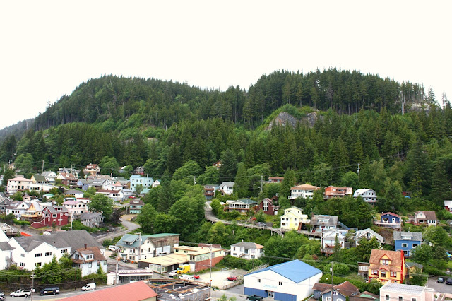 Ketchikan, Alaska nestled in Alaskan rainforest.