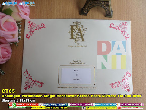 Undangan Pernikahan Single Hardcover Kertas Krem Mutiara Fia Dan Arief