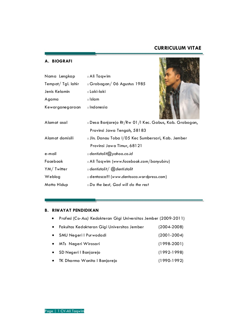 Contoh Curriculum Vitae Dalam Bahasa Indonesia - ben jobs