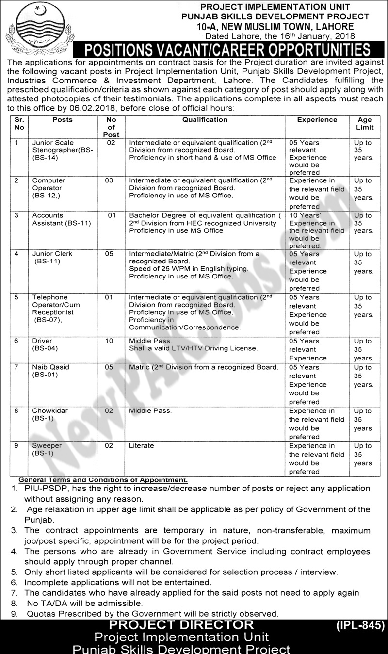 Multiple Jobs in Punjab Skill Development Project Lahore
