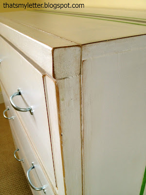 distressed painted dresser detail