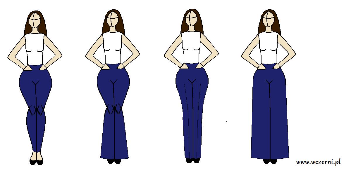 szerokie biodra wyszczuplone za pomocą odpowiedniego fasonu spodni