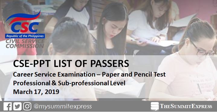 FULL RESULTS: March 17, 2019 Civil Service Exam CSE-PPT list of passers, top 10