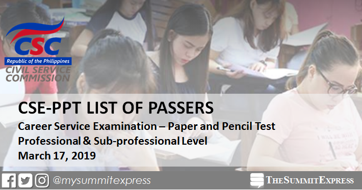 FULL RESULTS: March 17, 2019 Civil Service Exam CSE-PPT list of