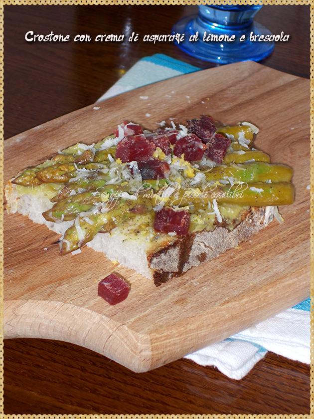 Crostone con crema di asparagi al limone e bresaola