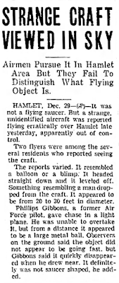 Strange Craft Viewed In Sky - The Gastonia Gazette (Gastonia, North Carolina) 12-29-1949