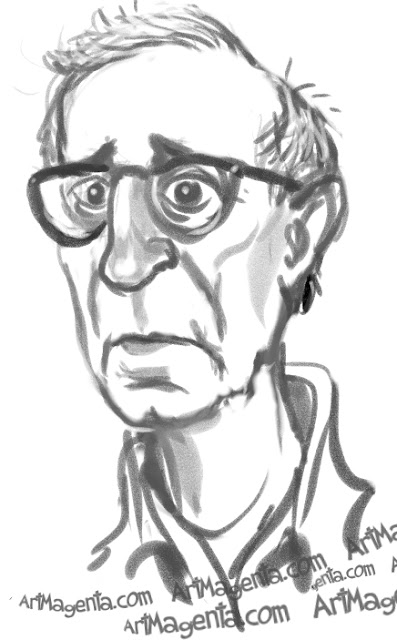 Woody Allen caricature cartoon. Portrait drawing by caricaturist Artmagenta.