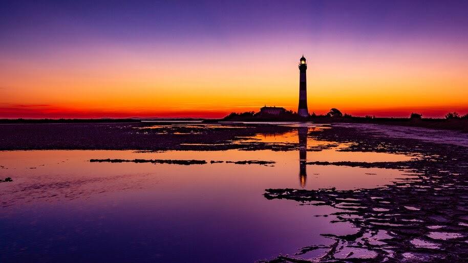 Colorful, Sky, Lighthouse, Sunrise, Scenery, 4K, #4.2318