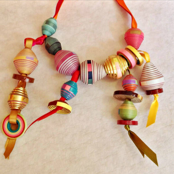 rolled paper and ribbon necklace