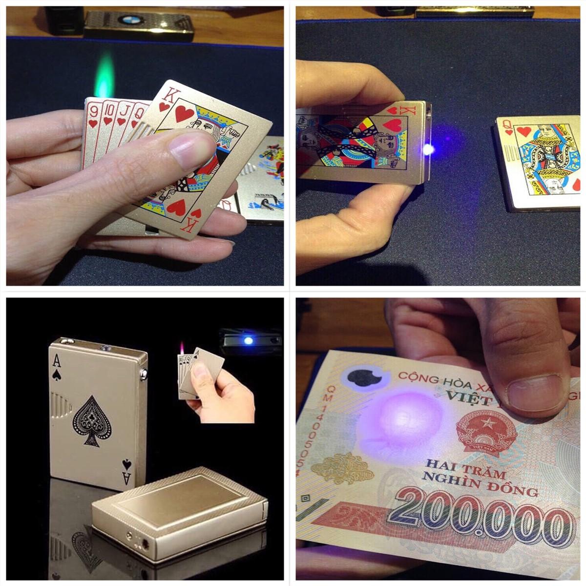 43k - Bật lửa lá bài có đèn soi tiển giả giá sỉ và lẻ rẻ nhất