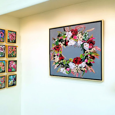Circle of Joy original acrylic floral wreath painting by Pennsylvania artist Merrill Weber framed