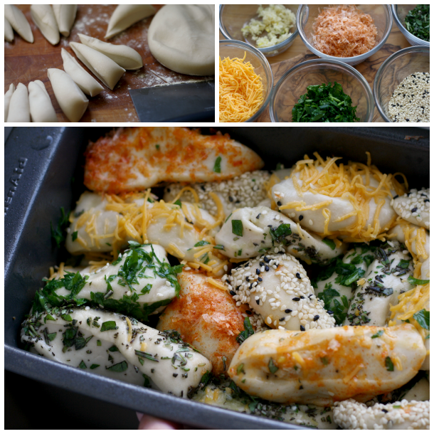 forming Pull-Apart Bread with Cheese, Herbs, and Seeds