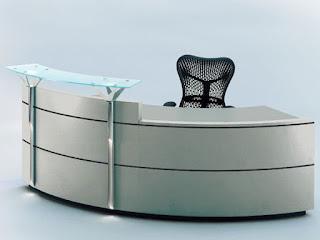 Mẫu bàn ghế văn phòng hiện đại ở quầy lễ tân