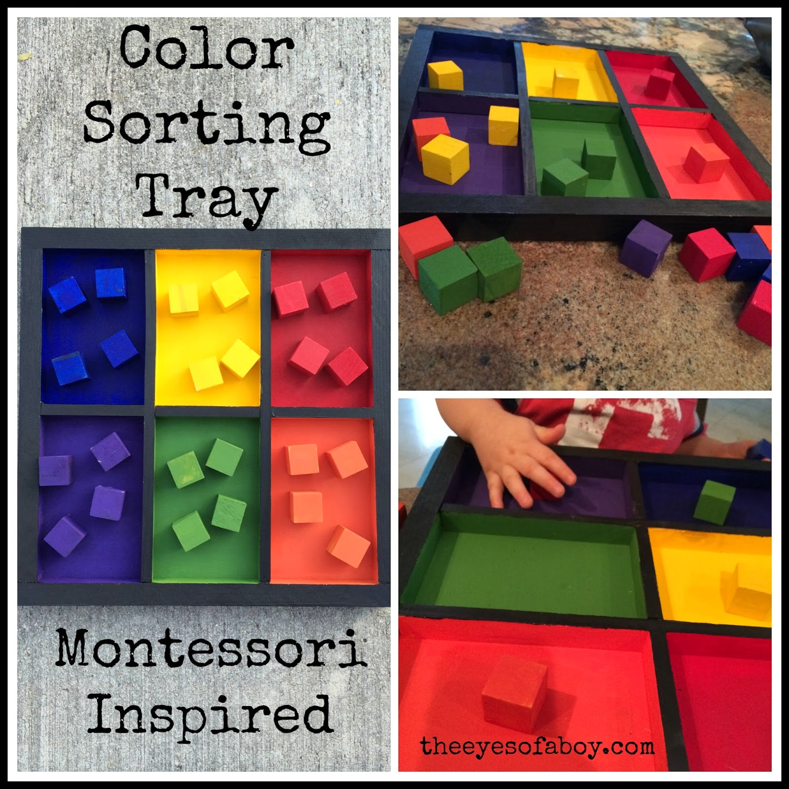 Montessori Inspired Wooden Color Sorting Tray Diy