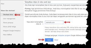 Cara otorisasi situs untuk upgrade akun adsense