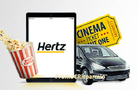 Logo #HertzCinemaCar: vinci gratis buoni cinema, auto a noleggio e Apple Ipad Pro