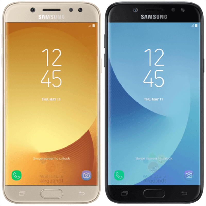 The Galaxy J7 (2017) in front and in gold and black colors