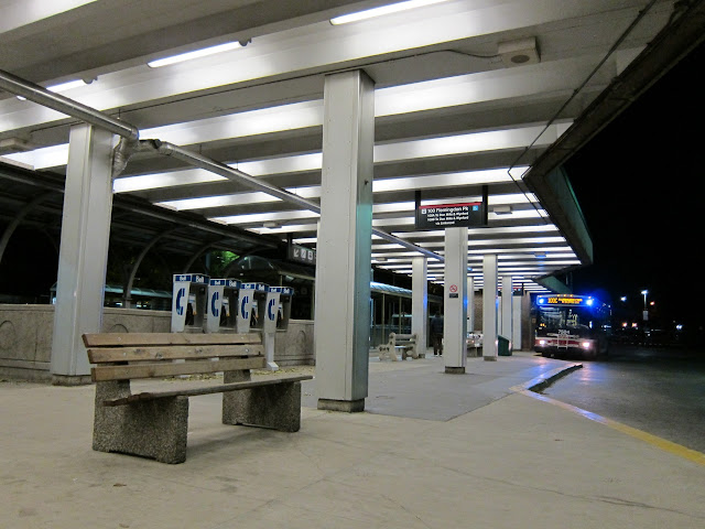 Bus platform and canopy at the TTC's Broadview subway station