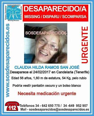 Mujer desaparecida Candelaria, Tenerife, necesita medicación urgente