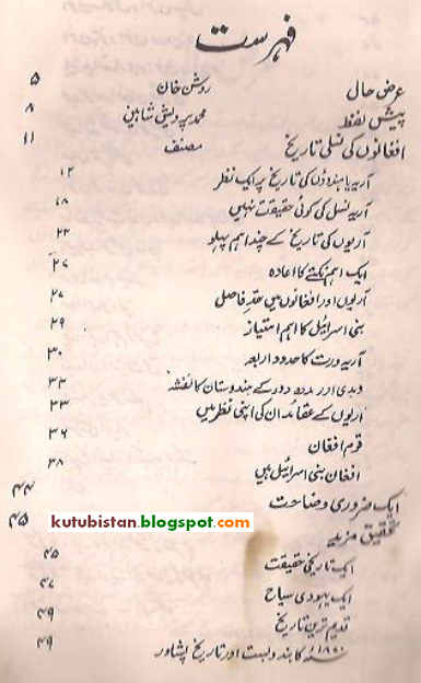 Contents of Afghanon Ki Nasli Tareekh