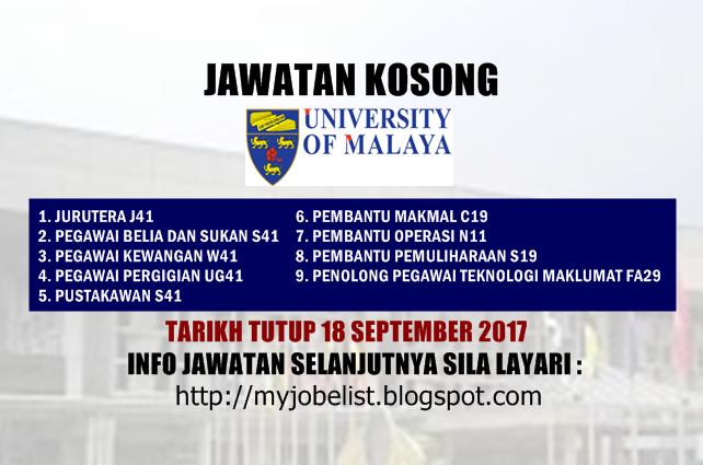 Jawatan Kosong di Universiti Malaya (UM) September 2017