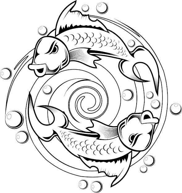 Kids Coloring Pages Of Koi Fish Tattoo Design