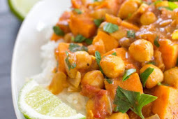 Easy Coconut Curried Sweet Potato & Chickpea Stew