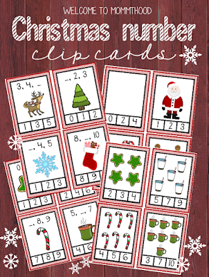 Christmas activities for kids: Christmas number clip cards by Welcome to Mommyhood #christmasactivities, #montessori, #printables, #preschoolactivities