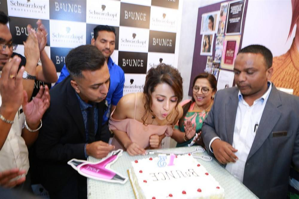 Actress Trisha Stills In Pink Dress At Salon Spa Launch