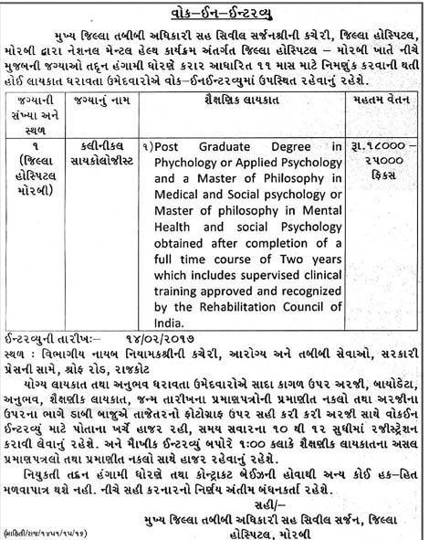 District Hospital Morbi Clinical Psychologist Recruitment 2017
