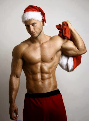 Shirtless Merry Christmas Ripped Six Pack Abs