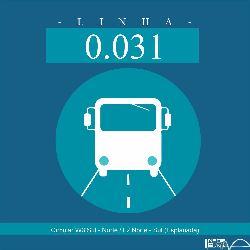 Horário de ônibus e itinerário 0.031 - Circular W3 Sul - Norte / L2 Norte - Sul (Esplanada)