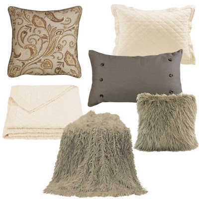 cream diamond pattern linen quilt, Piedmont Euro sham and accent pillow, taupe mongolian faux fur throw