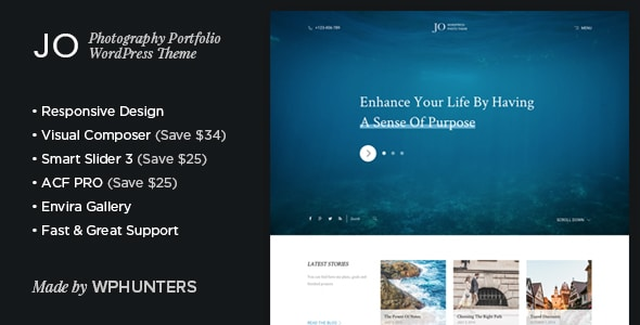 Chia Sẻ Theme Wordpress Bản Quyền Dành Cho Nhiếp Ảnh Gia - Jo - Responsive Photography Portfolio WordPress Theme