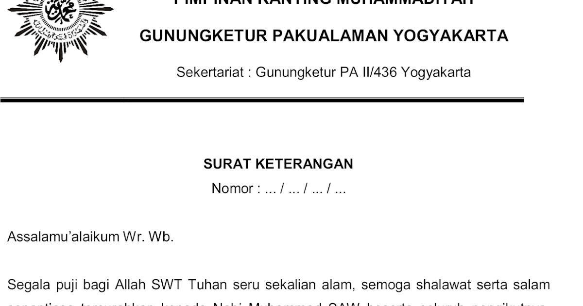 Contoh Surat Keterangan Aktif Organisasi Imm Bertemuco
