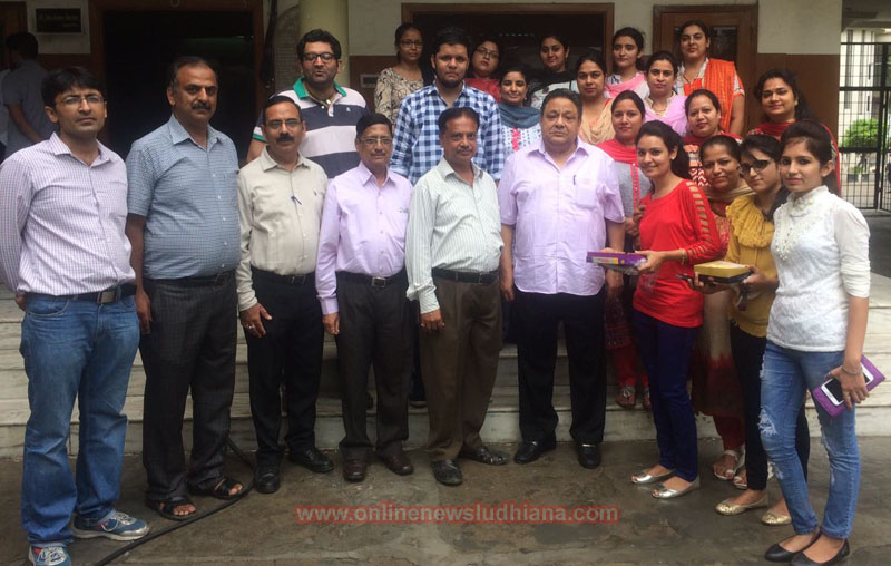 Successful students of Kamla Lohtia S.D. College celebrating their victory with college officials