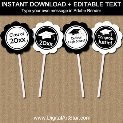 printable black and white graduation cupcake toppers with editable text