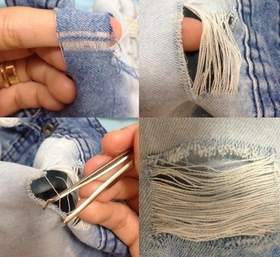 Resultado de imagem para calça rasgada passo a passo